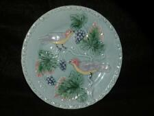 ANTIQUE ZELL GERMANY MAJOLICA pottery BIRDS AND grape leaves plate