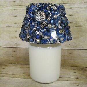 Handmade Candle Jar Topper Blue Silver OOAK Embellished Jewelry Art Repurposed