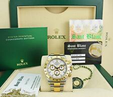 ROLEX Mens 18kt Gold Stainless DAYTONA White Index Fat Buckle 116523 SANT BLANC