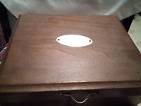 Lovely Velvet Lined Vintage Wood Jewelry Box Chest with Brass Hinge