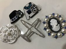 Pin Brooch Vintage Style Set Faux Silver Pearl Pins New