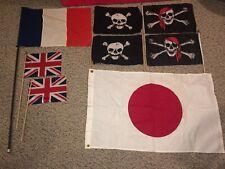 New listing 8 Vintage Flags,3x5 Japan,Skull Crossbones,Union Jack,France French,Jolly Roger