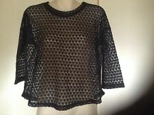 DOTTI LADIES LONG SLEEVE LACE TOP, SIZE S