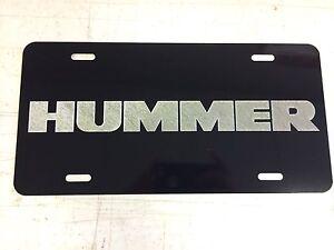 HUMMER LOGO Car Tag Diamond Etched on Black Aluminum License Plate