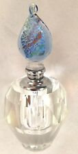 """Clear Glass 4"""" Decorative Perfume Bottle Decanter w Blue Top Stopper Wand"""