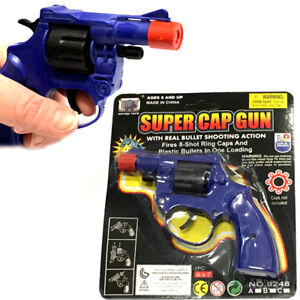 SUPER CAP GUN TRADITIONAL 8 SHOT BOYS TOY PARTY BAG CHRISTMAS STOCKING FILLERS