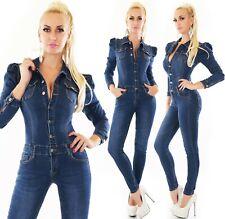 Damen Langarm Jeans Overall Hose Jumpsuit Röhrenjeans Skinny Puffärmel S M L