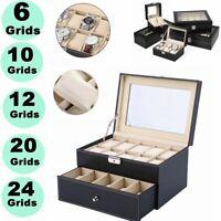 6/10/12/20/24 Slot Luxury Wrist Watch Box Top Jewelry Storage Display Case Mens
