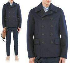 $2,595 RUNWAY Burberry Prorsum 40 50 Navy Cashmere Men Pea Coat Jacket ITALY New