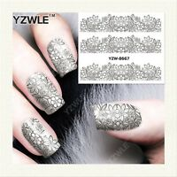 Nail Art Water Decals Stickers Transfers Stamping Black Lace Flowers Floral 8667