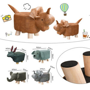 Animal Shape Ottomans Footstools Leather Soft Padded Cushion Pouffe Stool Child