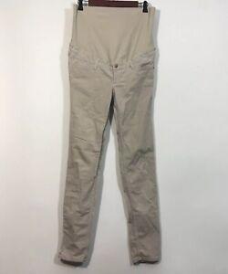 MAMA By H&M Corduroy Maternity Pants Women Size 8 Beige Skinny Slacks