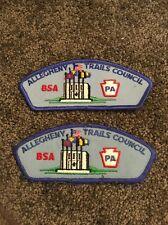 2 BSA Allegheny Trails Council Patchs Pa Pair Lot Boy Scouts Cub Scout Camp Vest