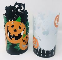 Halloween Black White Metal Laser Cut Candle Jar Covers Owls Ghosts Pumpkins