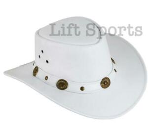 New Men's White Stylish Cowboy Hat Western Original Genuine Cow Hide Leather