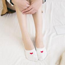 White Women Invisible Socks Heart Printed Cotton Boat Socks Summer Ankle Socks