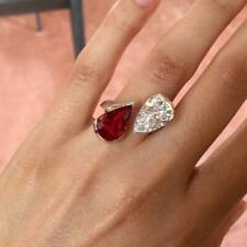 4Ct Pear Cut Ruby Simulnt Diamond 2 Stone Engagement Ring White Gold Fnsh Silver