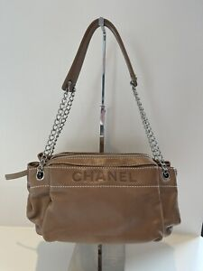 Authentic CHANEL Small Accordion Tote Brown Beige Lambskin Leather Shoulder Bag