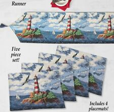 "5 Pc Tapestry Set: 4 Placemats (13""x18"") & 1 Runner (74""x14) NAUTICAL LIGHTHOUSE"