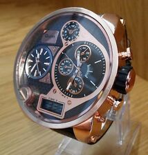 XXL Para Hombre De Oro Rosa masiva Doble Reloj de moda analógico/digital Combi