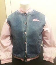 Disney Store Princess Embroidered Bomber Denim Pink Jacket Girl Size L (10/12)