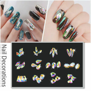 10-50Pcs 3D Nail Art Rhinestones Flat Shaped Elongated Glass Colorful Stones DIY
