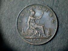 Victoria 1881 Bronze Farthing, laureate bust,Heaton Mint Mark. Ex fine