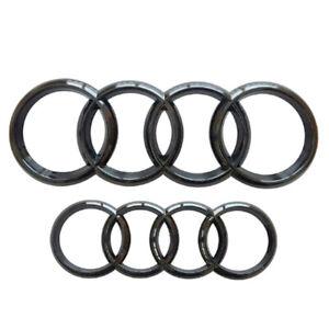 Kit Vorne+Hinten Glanz Abzeichen Emblem Grill Ring Cover Für Audi A3 A4 A5 A6