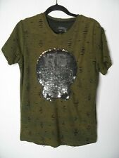 RG512 Mens T-Shirt Size L Official Team Alternate Sequin Skill Khaki Ripped