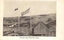 BOUNDARY FLAGS WHITE PASS SUMMIT ALASKA USA & CANADA POSTCARD (c. 1910)