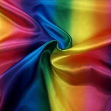 Silky Satin Fabric Rainbow Bright Gradient Stripe Dressmaking Poly