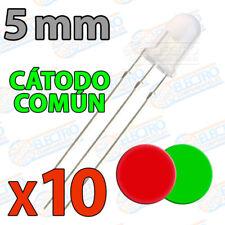 10x Led Bicolor 5mm Rojo Verde difuso 3 pines catodo comun dual color