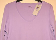 LADIES M&S COLLECTION PURE COTTON V NECK TOP STAY NEW TECHNOLOGY SIZE 14 - MAUVE