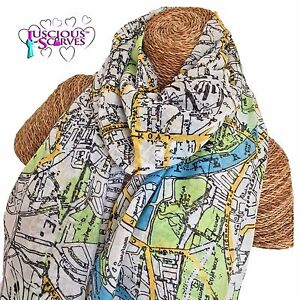 LONDON MAP SCARF LADIES SCARF WITH MAP OF LONDON DESIGN SUPERB SOFT QUALITY