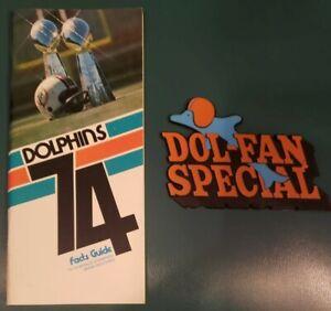 1974 MIAMI DOLPHINS MEDIA GUIDE PROGRAM YEARBOOK DON SHULA BOB GRIESE + BONUS