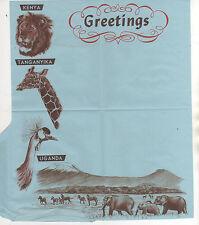 """ANIMALS - AIR LETTER c.1960 KENYA """"GREETINGS"""" ILLUSTRATION - UNUSED"""