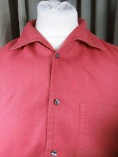 "Blazer 100% Linen Red Short Sleeve Shirt - Large C43-45"""