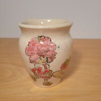 "Vintage 80s Strawberry Shortcake Mug Handpainted Ceramic 4.25"" 12 Oz. Coffee Tea"