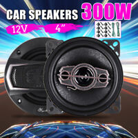 2 Pcs 12V 4'' 300 Watt 4-Way Pro Car Audio Speaker Coaxial SubWoofer Stereo Horn
