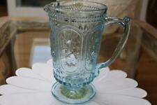 TABLA HOME EASTER BUNNY BLUE VINTAGE INSPIRED GLASS KNOBBY FOOTED PITCHER - NEW
