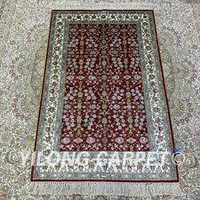 YILONG 2.5'x4' Red Turkish Handknotted Silk Area Rug All-Over Home Carpet H193B