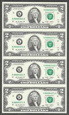 2009 - $2 UNC * Fancy Lucky Money # 8888 * Uncut Sheet X 4 Notes