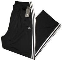 NEW ADIDAS BLACK w WHITE TRI STRIPE MENS GYM RUNNING TRACK BASKETBALL PANTS XL