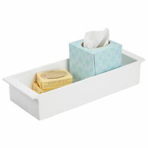 mDesign Deep Bamboo Bathroom Storage Organizer Tray, Stackable - White Wood