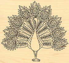 Fancy Peacock Bird Wood Mounted Rubber Stamp Impression Obsession F2392 NEW