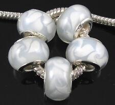 20pcs White Murano Lampwork Glass Beads Fit European Charm Bracelet Xmas