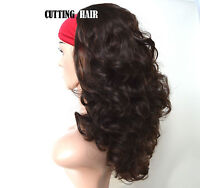 Dark Brown mix Auburn 3/4 Wig Long Curly Layered Half Wig Hairpiece 04-2/33