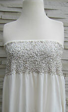 MINT VELVET IVORY/ BEIGE  MAXI DRESS SEQUIN BANDEAU TOP SIZES 8-18 BNWOT