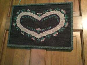 Framed Hand Hooked Folk Art Heart