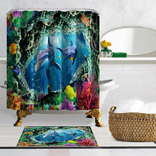 "Dolphin Undersea Bathroom Mat Waterproof Polyester Fabric Shower Curtain 72"" 021"